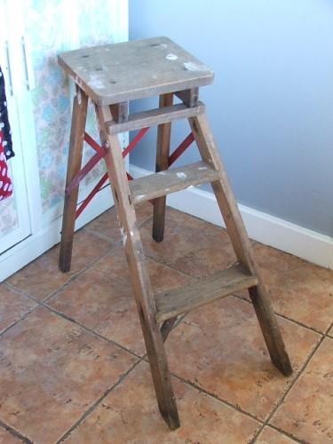Old Vintage Folding Wooden Step Stool