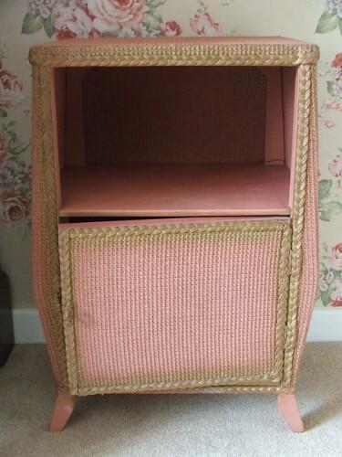 Vintage Pink Wicker Bedside Cabinet