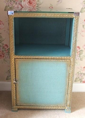 Blue Vintage Wicker Bedside Cabinet