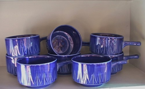 8 Retro Blue Pottery Soup Bowls