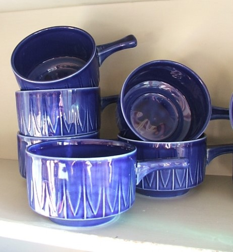 Eight Retro Blue Pottery Soup Bowls