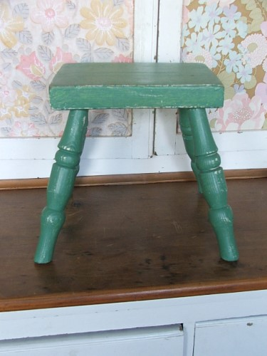 Green Painted Wooden Stool