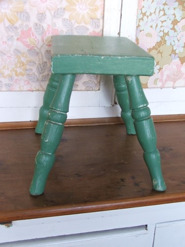 Small Green Painted Wooden Stool