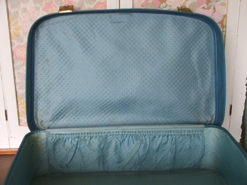 Vintage Blue Suitcase with key