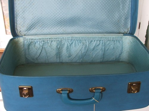 Retro Blue Suitcase with key