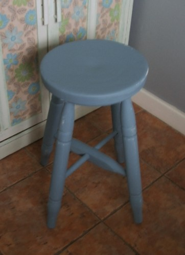Old Blue Painted Wooden Stool