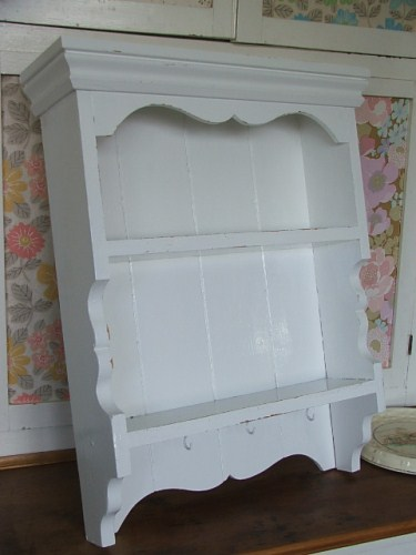 white painted shelves