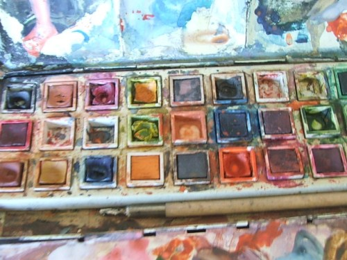 Vintage Artists paintbox with used paints