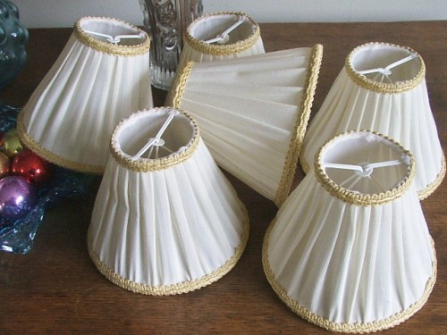Six Creamy White Lampshades