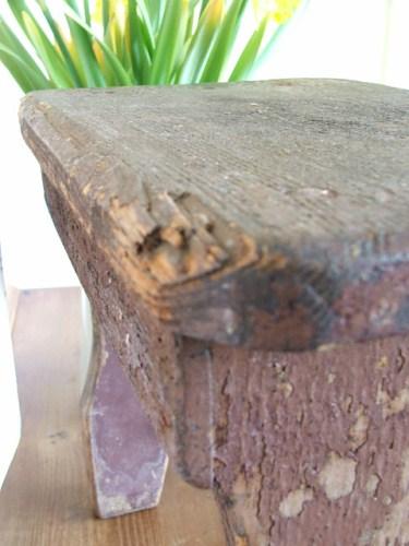 Small shabby wooden stool