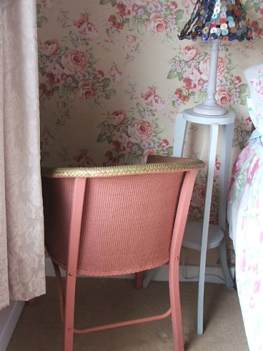 Vintage Dusty Pink Wicker Chair