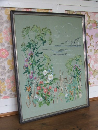 Pretty vintage framed embroidery