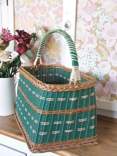 1950's Green Wicker Shopping Basket