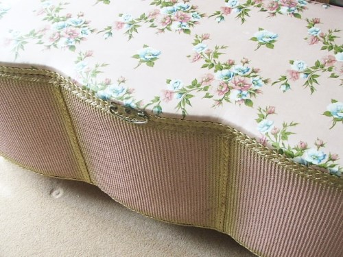Vintage Pink Wicker Floral Ottomon