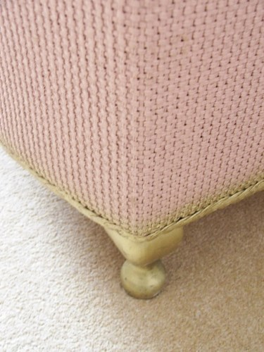 Vintage Pink Wicker Ottomon