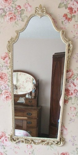 Vintage white and gold decorative long wall mirror