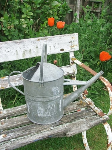 Vintage 2 gallon galvanised watering can