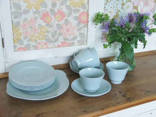 4 pce set +cake plate Woods Utility Wear