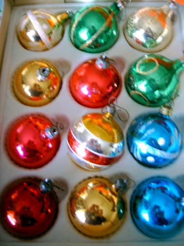 Vintage Christmas Tree Glass Baubles