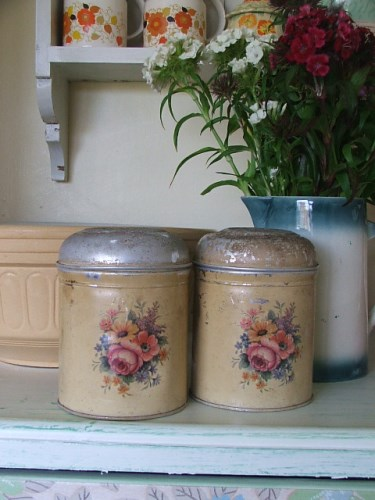 Pair of Floral Tins