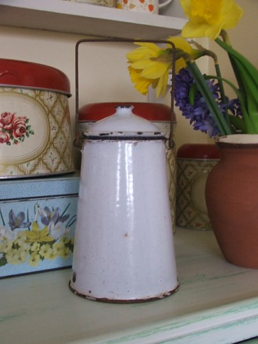 White Enamel Milk Can