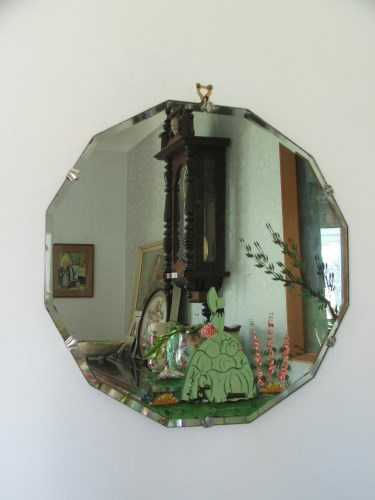 Vintage Painted Crinoline Lady Mirror