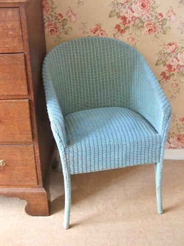 Vintage Blue Wicker Chair