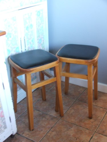 Pair of Retro Wooden Stools