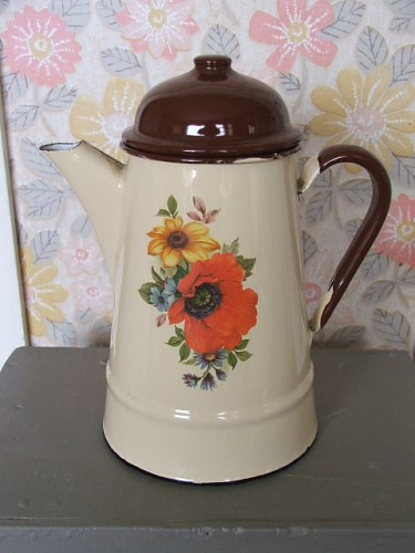 Vintage Floral Enamel Coffee Pot