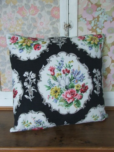 Black Floral Cushion Cover