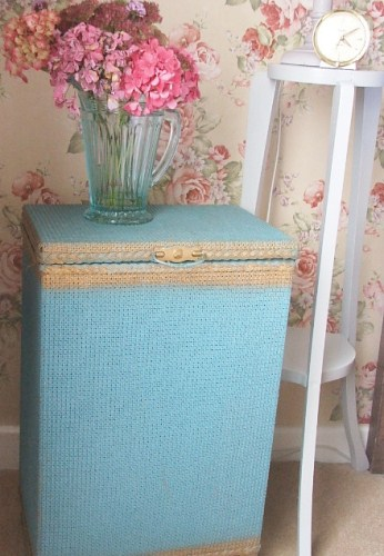 Blue Wicker Laundry Basket
