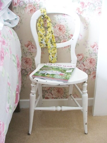 small white chair for bedroom wooden chair with original chippy paintwork 19882